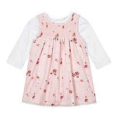 bluezoo - Baby girls' pink floral dress and white top set