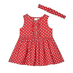 bluezoo - Baby girls' red polka dot dress and headband