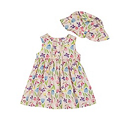 bluezoo - Baby girls' pink floral print dress and hat set