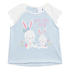 bluezoo - Baby girls' blue striped print bunny applique top