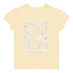 bluezoo - Baby girls' yellow floral print 'Cute' t-shirt