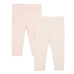 bluezoo - Pack of two baby girls' pink striped leggings