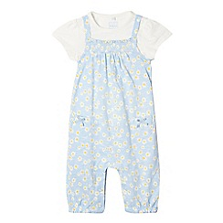 bluezoo - Baby girls' blue daisy dungarees and top set