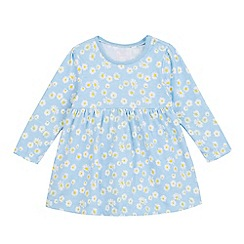 bluezoo - Baby girls' blue long sleeved daisy print dress