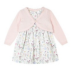bluezoo - Baby girls' white animal print dress and pink cardigan set