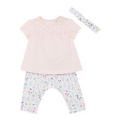 bluezoo - Girls' pink top, hareem pants and headband set