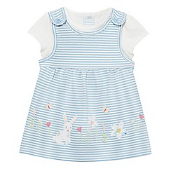 bluezoo - Baby girls' blue striped bunny pinafore and white top set