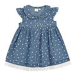 bluezoo - Baby girls' navy chambray floral print dress