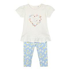 bluezoo - Baby girls' white 'Pretty like mummy' top and leggings set