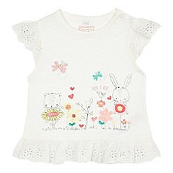 bluezoo - Baby girls' white animal print t-shirt