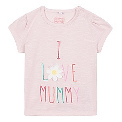 bluezoo - Baby girls' pink 'I love mummy' print t-shirt