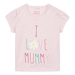 bluezoo - Baby girls' pink 'I love mummy' print t-shirt