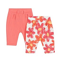 bluezoo - Pack of two baby girls' plain coral and floral print harem trousers
