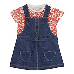bluezoo - Baby girls' pink floral print top and denim pinafore set