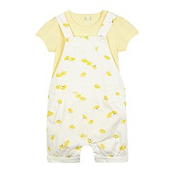 bluezoo - Baby girls' yellow dungarees and bodysuit set