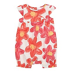 bluezoo - Baby girls' peach floral print romper suit