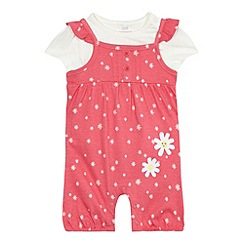 bluezoo - Baby girls' pink ditsy print dungarees and white top set