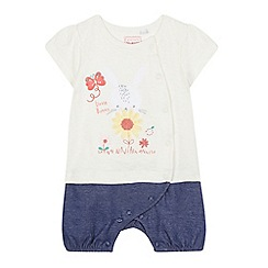 bluezoo - Baby girls' cream bunny applique romper suit