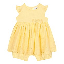 bluezoo - Baby girls' yellow mock dress romper suit