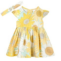 bluezoo - Baby girls' yellow sunflower print dress and headband set