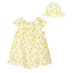 bluezoo - Baby girls' white giraffe print dress and hat
