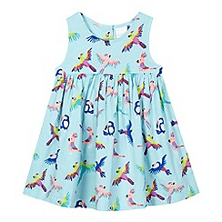 bluezoo - Baby girls' aqua tropical bird print dress
