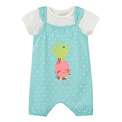 bluezoo - Baby girls' aqua pineapple applique dungarees and white t-shirt set