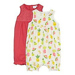 bluezoo - Pack of two baby girls' white fruit print and pink crochet yoke romper suits