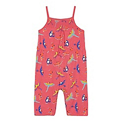 bluezoo - Baby girls' pink tropical bird print playsuit