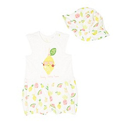 bluezoo - Baby girls' white lemon print mock romper and hat set