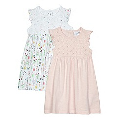 bluezoo - Pack of two baby girls' pink and white animal print dresses