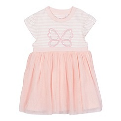 bluezoo - Baby girls' pink striped print butterfly applique netted dress