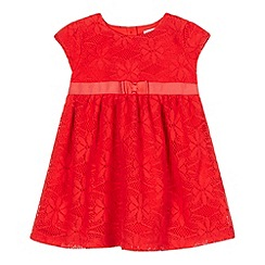 bluezoo - Baby girls' red lace overlay dress