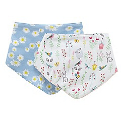 bluezoo - Pack of two white animal and blue floral print bibs