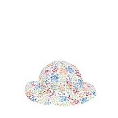 bluezoo - Baby girls' blue floral print bow applique hat