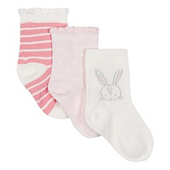 bluezoo - Baby girls' pink and white patterned socks
