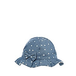 bluezoo - Baby girls' blue chambray flower print hat