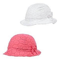 bluezoo - Pack of two girls' pink and white cut-out hats