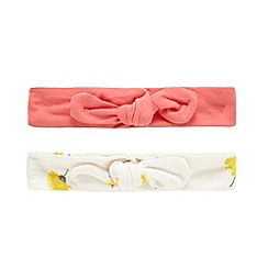 bluezoo - Pack of two baby girls' white dandelion print and coral knot detail headbands