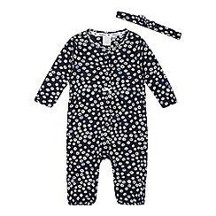 J by Jasper Conran - Baby girls' navy ditsy print playsuit and head band set