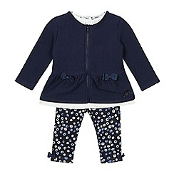 J by Jasper Conran - Baby girls' navy quilted jacket, floral leggings and white top set