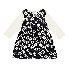 J by Jasper Conran - Baby girls' navy floral textured dress and cream top set