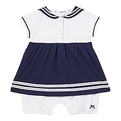 J by Jasper Conran - Baby girls' navy sailor mock romper suit