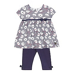 J by Jasper Conran - Baby girls' navy flower and striped print dress and leggings set