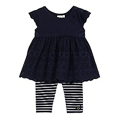 J by Jasper Conran - Baby girls' navy broidery tunic and striped print leggings set