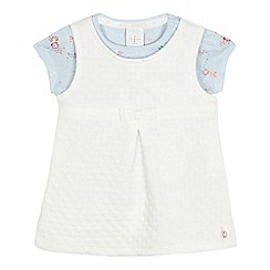 J by Jasper Conran - Baby girls' ivory quilted floral print top and pinafore set