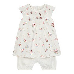 J by Jasper Conran - Baby girls' cream floral print mock romper suit