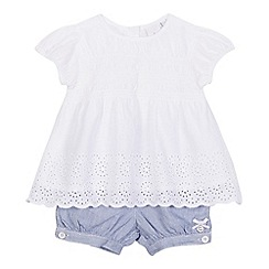 J by Jasper Conran - Baby girls' white floral cut-out top and blue textured shorts set
