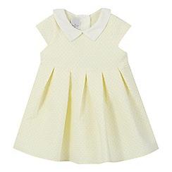 J by Jasper Conran - Baby girls' yellow textured spot dress