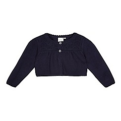 J by Jasper Conran - Baby girls' navy Broderie Anglaise cardigan